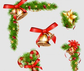 Christmas pine branch with bells decorative vector