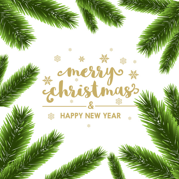 Christmas Branch Vector.Christmas Pine Branches Frame Decor Vector 04 Free Download