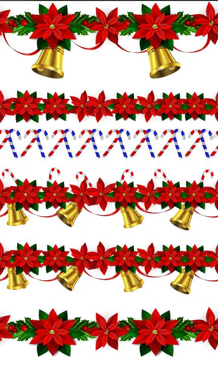 Christmas red decor border with bells vector