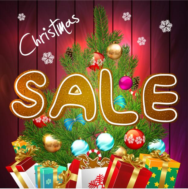 Christmas sale poster with gift and baubles vector free download