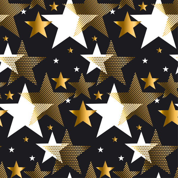 Christmas stars seamless pattern vectors 01
