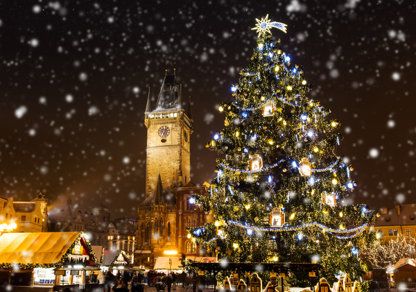 Christmas tree Snowy night bell tower Stock Photo