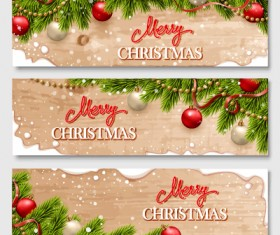 Christmas wooden banners with baubles vector