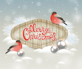 Christmas wooden label with bird vector 03