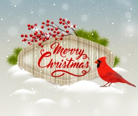 Christmas wooden label with bird vector 04