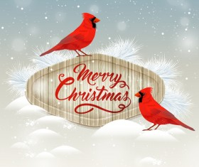 Christmas wooden label with bird vector 05