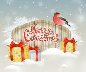 Christmas wooden label with bird vector 06
