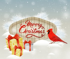 Christmas wooden label with bird vector 07