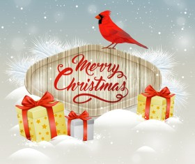 Christmas wooden label with bird vector 08