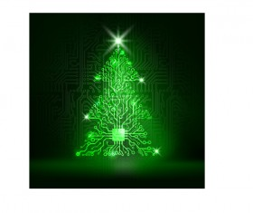 Circuit board with christmas tree vector