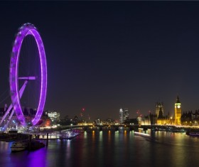 City lights Ferris wheel Big Ben HD picture