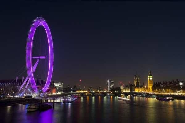 City lights Ferris wheel Big Ben HD picture