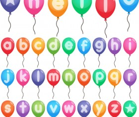 Colored balloon alphabet vector