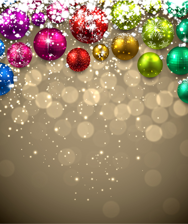 colored christmas ball with new year background vector