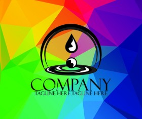Company creative logos with colored polygon background vector 01