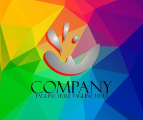Company creative logos with colored polygon background vector 02