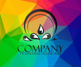 Company creative logos with colored polygon background vector 03