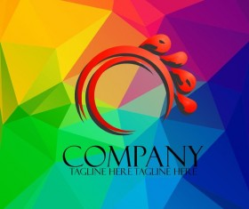 Company creative logos with colored polygon background vector 04