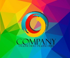 Company creative logos with colored polygon background vector 05