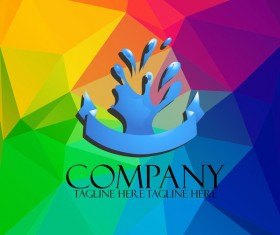 Company creative logos with colored polygon background vector 06