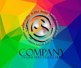 Company creative logos with colored polygon background vector 07
