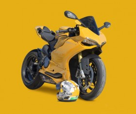 Cool yellow motorcycle Stock Photo