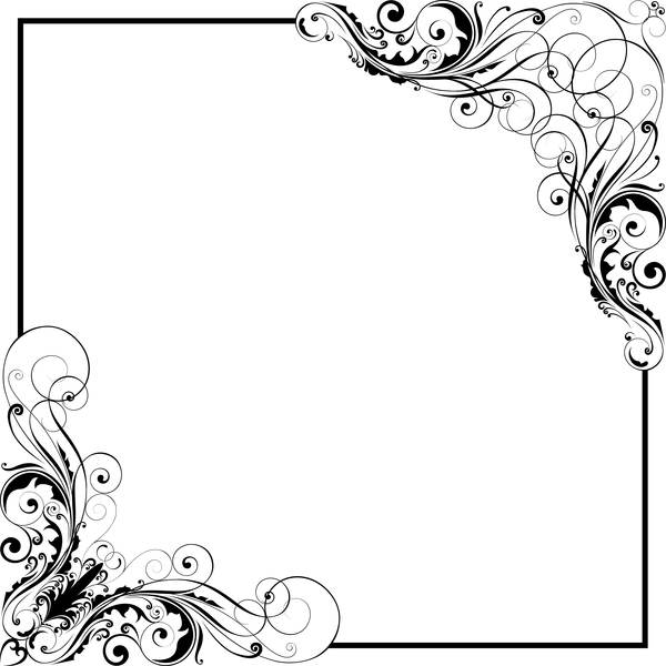 corner floral swirl ornaments with frame vector free download corner floral swirl ornaments with