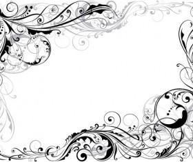 Corner swirl floral design ornaments vector material