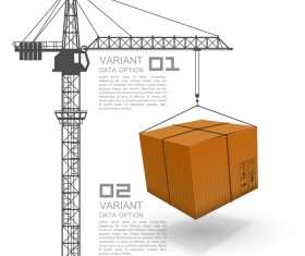 Crane lifts with container vector