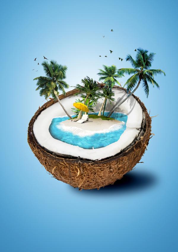 Creative Coconut Island Scenery Stock Photo Nature Stock