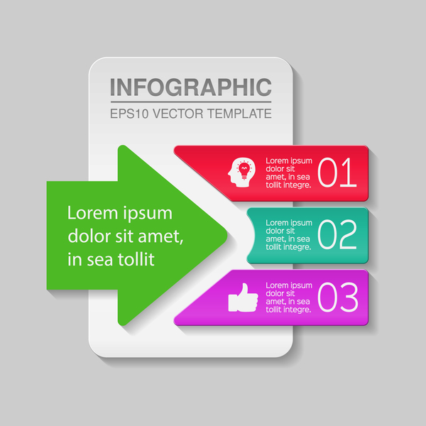 Creative numbered infographic vector template 01