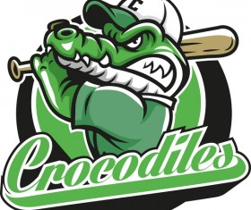 Crocodile with baseball label vector