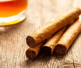 Cuban cigars on the table Stock Photo