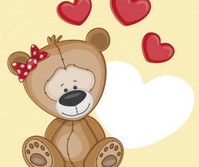 Cute bears baby card vector material 03