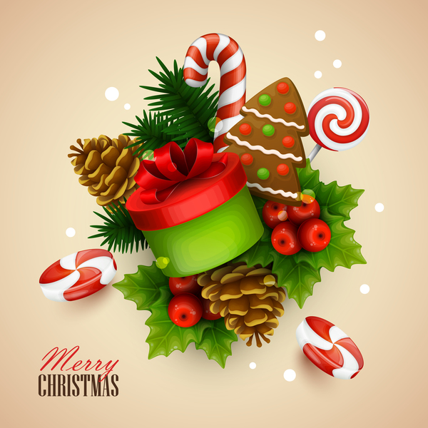 Cute christmas sweet background vector 01
