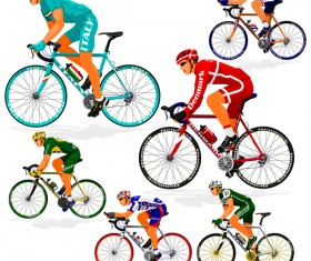 Cyclist with road bike vector illustration 01