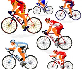 Cyclist with road bike vector illustration 02