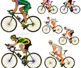 Cyclist with road bike vector illustration 03
