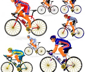 Cyclist with road bike vector illustration 04