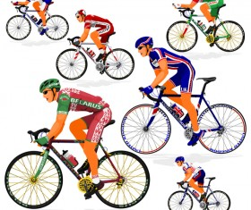 Cyclist with road bike vector illustration 06