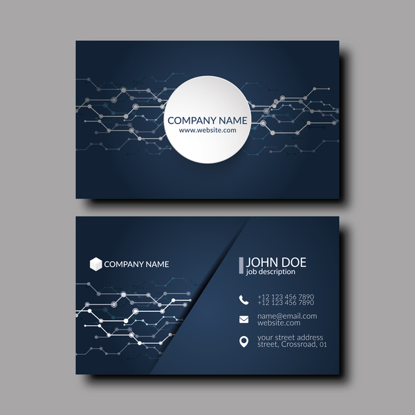 Dark blue business card template vector 05 vector business dark blue business card template vector 05 reheart Images