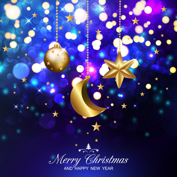 Dark blue christmas background with xmas golden balls stars and ...