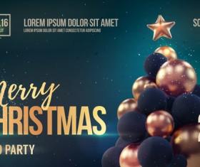 Green xmas party flyer template with balloon christmas tree vector 02