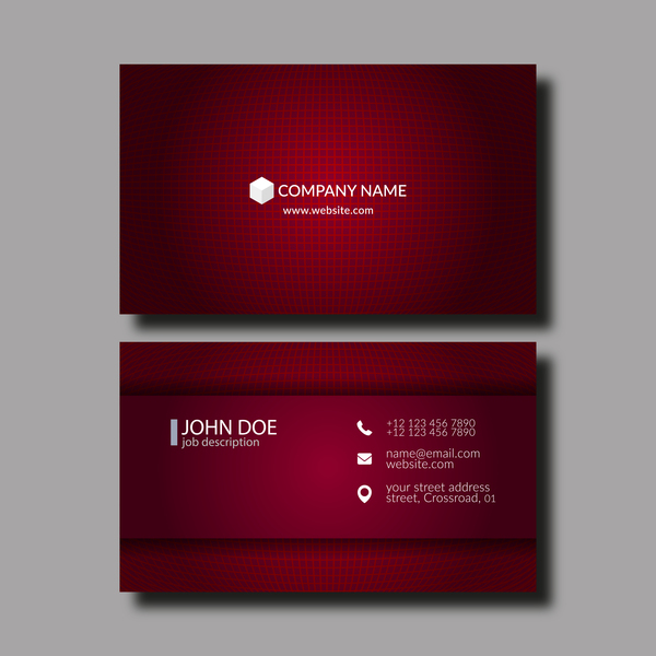 Dark red business card template vector