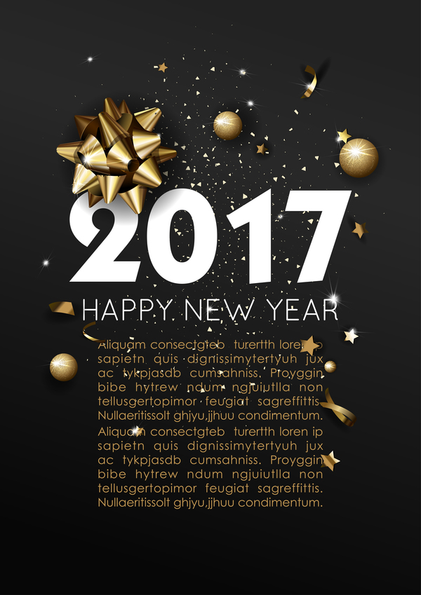 Dark Styles Happy New Year 2017 Poster Template Vector 02 - Vector