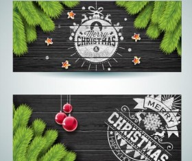 Dark wood textured with christmas banners vector 01