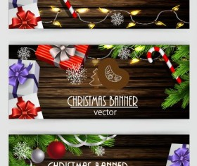 Dark wood textured with christmas banners vector 02