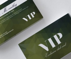Darkgreen polygon VIP card front and back template vector