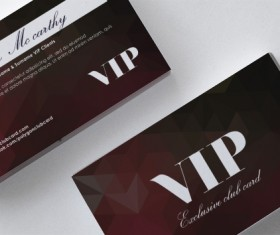 Darkred polygon VIP card front and back template vector
