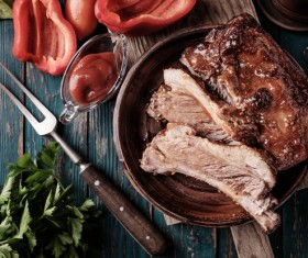 Delicious grilled pork ribs with spicy sauce HD picture 02